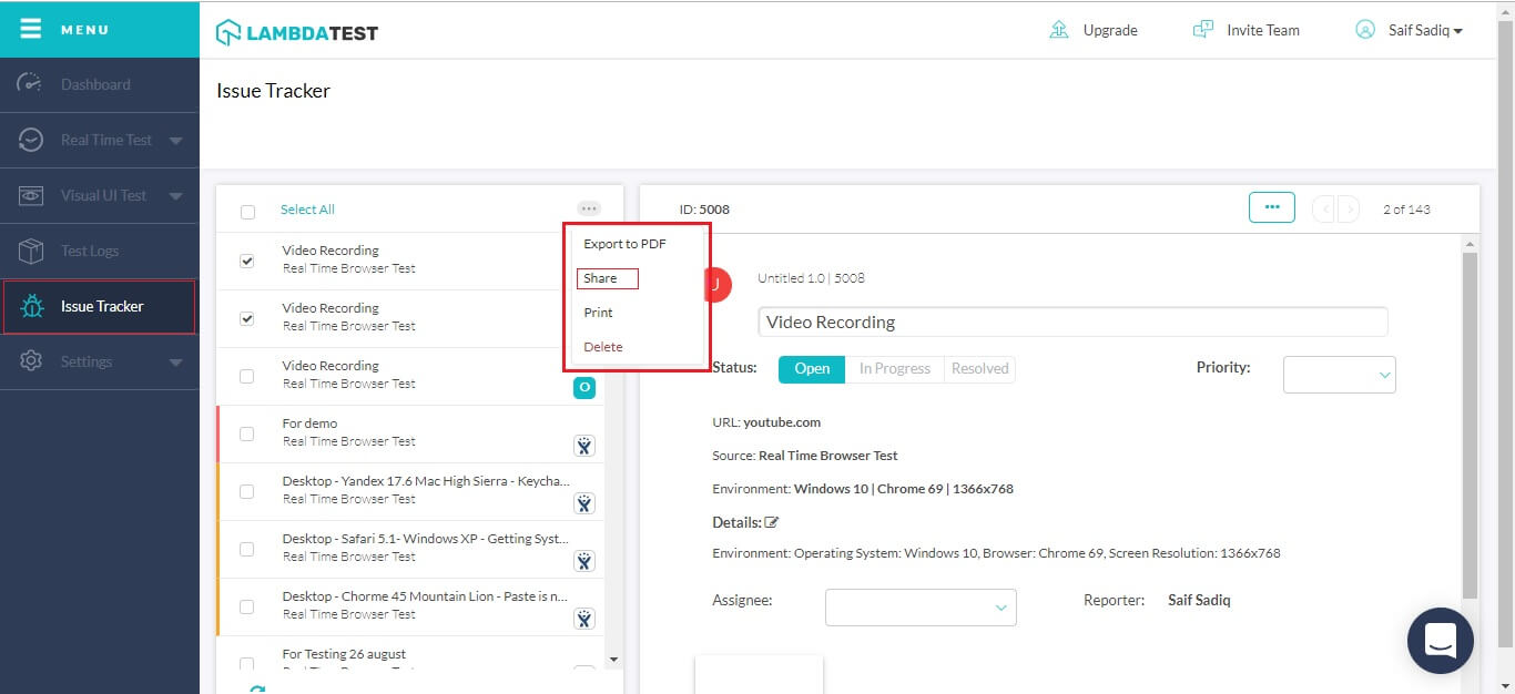 share the details via email, slack, share the link itself, or export to PDF