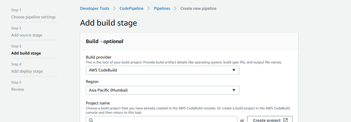 add build stage in AWS CodePipeline