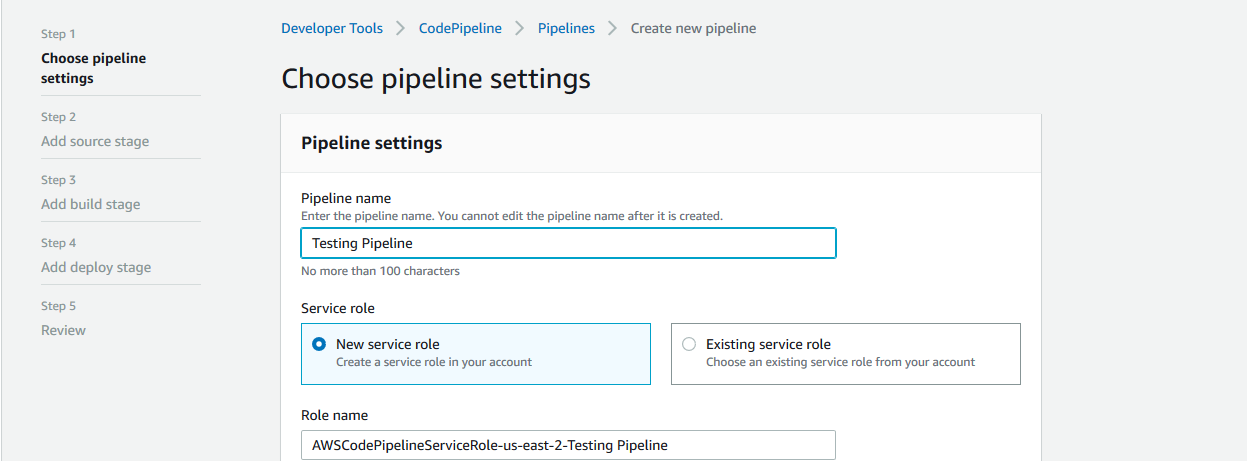 choose pipeline settings