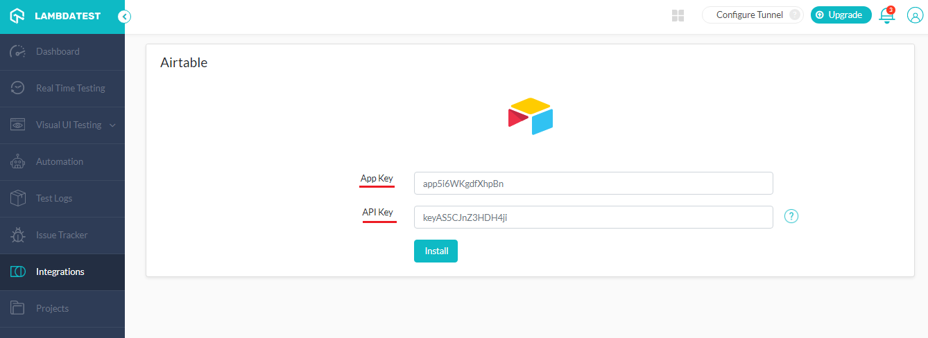 enter Airtable App Key & API Key
